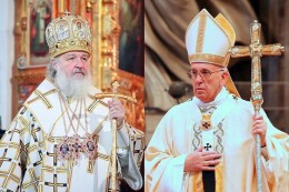 Russian_Orthodox_Patriarch_Kirill_L_Credit_PatriarchiaRu_PopeFrancis_R_Credit_Alexey_Gotovsky_CNA-260x173